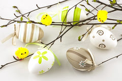 Easter still life with colorfull eggs Royalty Free Stock Photos