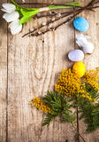 Easter still life with copyspace and spring flowers Stock Photos