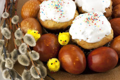 Easter still life with eggs Stock Photos