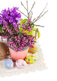 Easter still life with eggs and spring flowers Royalty Free Stock Images