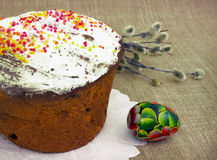 Easter still life. Festive pie and eggs Royalty Free Stock Photos