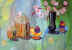 Easter. Still life with flowers and cake child artwork Stock Image