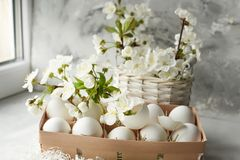 Easter still life. Gentle bright photo of egg and cherry blossoms. stock photos