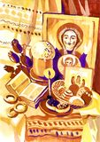 Easter still life with an icon. Hand-drawn in gouache Stock Photos