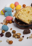 Easter still life with items like rabbit, eggs, confetti, chocol Stock Images