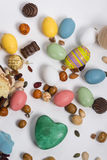 Easter still life with items like rabbit, eggs, confetti, chocol Stock Photography