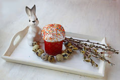 Easter still life with kulich and by the bouquet of willow Stock Images