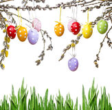 Easter still life with painted eggs Stock Images