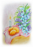 Easter Still Life Painting. Artistic watercolor painting - flowers, candles and Easter eggs Stock Photos