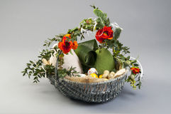 Easter still life with poppies and eggs Stock Photo