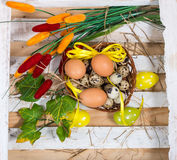 Easter still life. Quail and chicken eggs in a basket Royalty Free Stock Photos