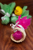 Easter still life quail egg with a chicken Royalty Free Stock Photos