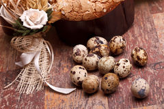 Easter Still Life With Quail Eggs Stock Images