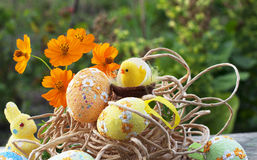 Easter still-life with rabbit and eggs Stock Photos