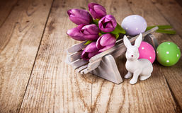 Easter still life with spring flowers and copyspace Stock Photo