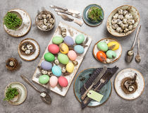Easter still life. Table place setting decoration eggs Stock Photo