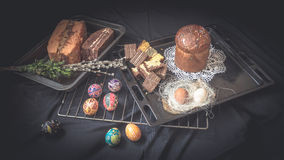 Easter Still Life with traditional holiday elements Stock Photo