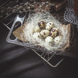 Easter Still Life with traditional holiday elements Royalty Free Stock Image
