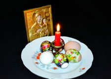 Easter stillife. On the table is a festive Easter stillife Royalty Free Stock Photos