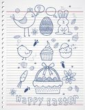 Easter story doodle on paper. Vector art background,illustration or print Royalty Free Stock Images