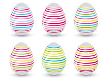 Easter striped eggs Stock Photos