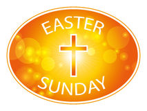 Easter sunday banner. Easter sunday jesus cross banner isolated on white background  illustration Royalty Free Stock Photography