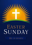 Easter Sunday calvary sun card. Easter Sunday, He is risen. Greetings, invite vector blue color template. Sunrise, open lighting empty cave, rock off, shining Stock Photos