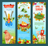 Easter Sunday celebration banner template set Royalty Free Stock Photo