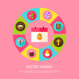 Easter Sunday Concept. Vector Illustration of Spring Holiday Infographics Circle with Icons Stock Photos