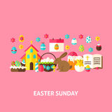 Easter Sunday Greeting Card. Flat Design Vector Illustration. Spring Holiday Poster Royalty Free Stock Images