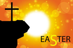 Easter sunday greeting card. Jesus cross on abstract sun background Stock Photo