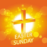 Easter sunday greeting card. Jesus cross on abstract sun background Royalty Free Stock Photography