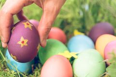 Easter sunday, happy easter, colorful easter eggs hunt holiday decorations easter concept backgrounds with copy space. Gain & noise filter apply Royalty Free Stock Photos