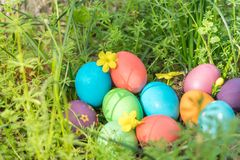 Easter sunday, happy easter, colorful easter eggs hunt holiday decorations easter concept backgrounds with copy space Royalty Free Stock Photography