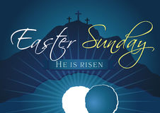 Easter sunday holy week navy blue banner. Easter Sunday, He is risen. Greetings, invite vector blue color template. Sunrise, open lighting empty cave, rock off Stock Photography