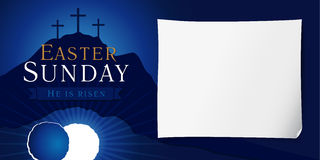 Easter sunday holy week poster. Easter christian motive, vector invitation to an Easter Sunday service with text He is risen on a background of rolled away from Stock Image