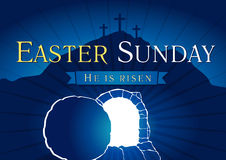 Easter Sunday Holy Week tomb and cross card. Easter Sunday, He is risen. Greetings, invite vector blue color template. Sunrise, open lighting empty cave, rock Stock Image