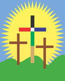 Easter Sunday Morning-Empty crosses and big sun Royalty Free Stock Images