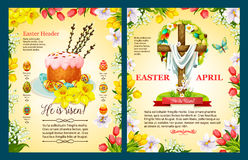 Easter Sunday poster template of egg, cake, cross Stock Photography