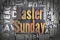 Easter Sunday. Written in vintage letterpress type Stock Images