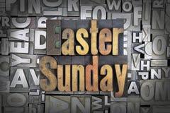 Easter Sunday. Written in vintage letterpress type stock images