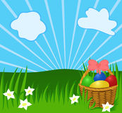 Easter sunny background. With basket, eggs, greenery. Illustration for your design or postcard Royalty Free Stock Images