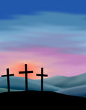 Easter Sunrise. Illustration depicting the rising sun on Easter morning with the empty crosses...see related image of crucifixion in my portfolio