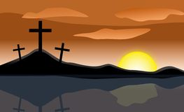 Easter Sunrise Three Crosses Royalty Free Stock Photo