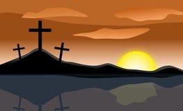Easter Sunrise Three Crosses royalty free illustration
