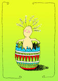 Easter surprise. Surprise baby dolls vector illustration