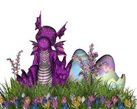 Easter Surprise. Digital render of a baby dragon just hatched from an Easter Egg stock illustration