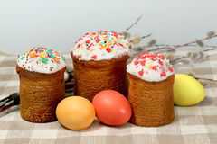 Easter sweet baked and color eggs Royalty Free Stock Photography