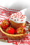 Easter sweet baked and color eggs Stock Image