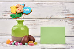 Easter sweets, blank greeting card. Royalty Free Stock Photos